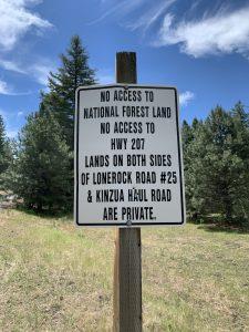 No access sign, Kinzua, OR